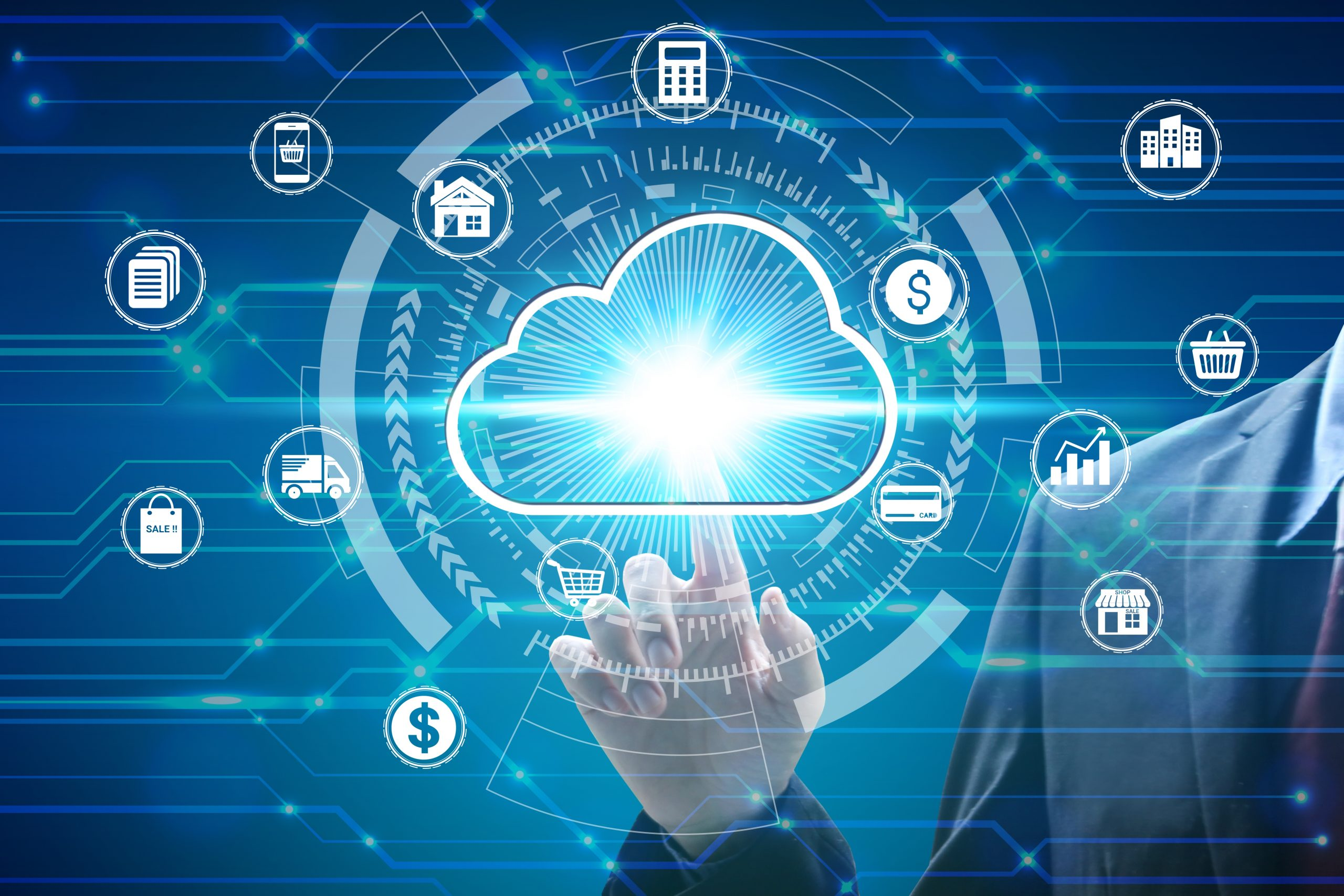 Finger touch with virtual cloud computing icon over the Network
